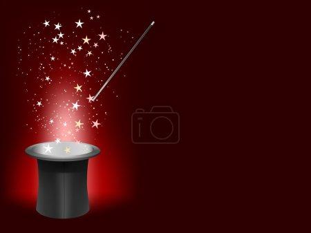 Illustration pour Vecteur magicien chapeau et baguette avec place pour votre texte - image libre de droit