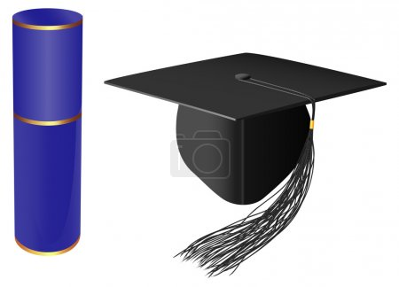 Illustration for Vector graduation cap and diploma on white background - Royalty Free Image