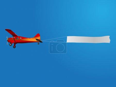 Illustration pour Avion rétro tirant bannière sur ciel bleu - image libre de droit
