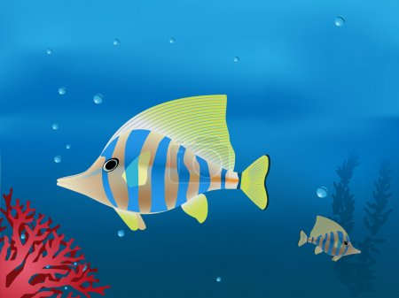 Vector illustration of tropical fishes in deep blu...