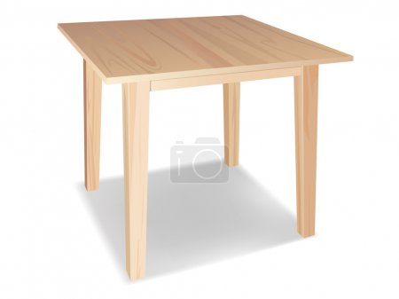 Vector realistic wooden table on white background...