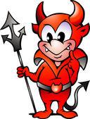 Kreslené vektorové ilustrace malý červený ďábel chlapce