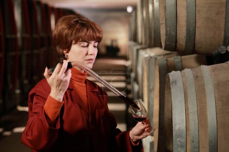 Tasting wine in the winery
