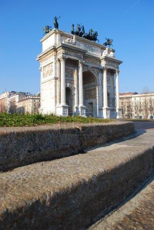 Photo pour Historique arco arc marbre della pace, sempione carré, milan, Lombardie, Italie - image libre de droit