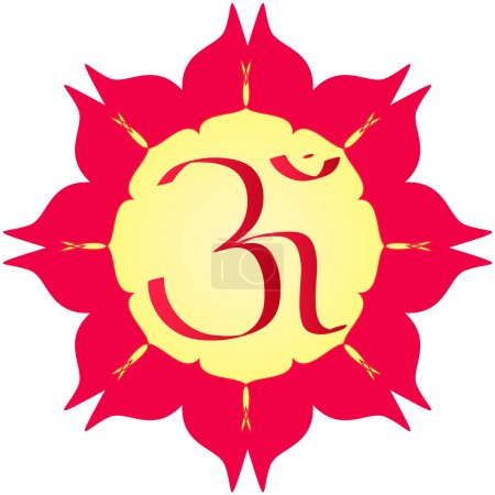 Photo for Divine OM symbol on flower - Royalty Free Image
