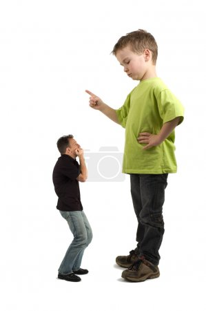 Caricature of a large son pointing his finger at t...