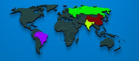 3d map formed by the BRIC countries Brazil, Russia, India and Ch