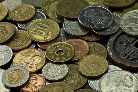 Photo for Old coins of several countries and colors - Royalty Free Image