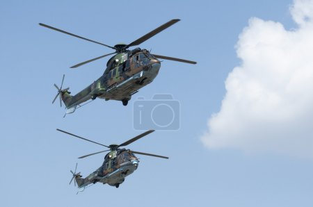 Green military helicopters. Horizontal image