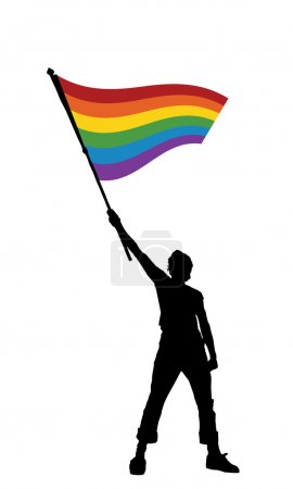 Man holding a peace flag, vector illustration