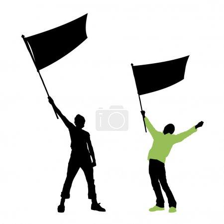 Man holding a blank flag