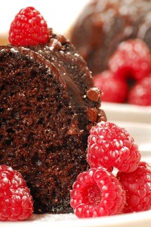 Chocolate fudge cake with raspberries