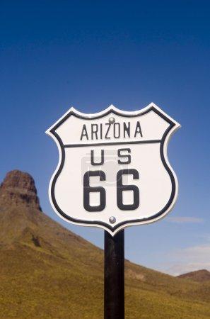 Photo pour Panneau historique de la Route 66 depuis l'état de l'Arizona - image libre de droit