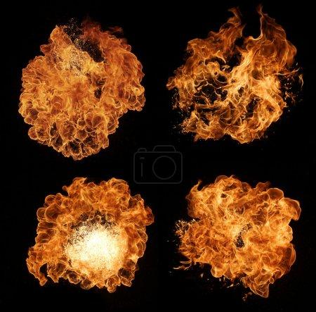 Photo pour Collection de flammes de feu haute résolution isolées sur fond noir - image libre de droit