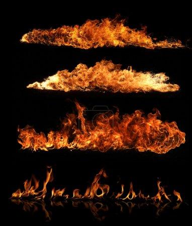 Foto de Colección de llamas de fuego de alta resolución aislada sobre fondo negro - Imagen libre de derechos