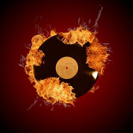 Photo pour Disque de vinyle en flammes - image libre de droit