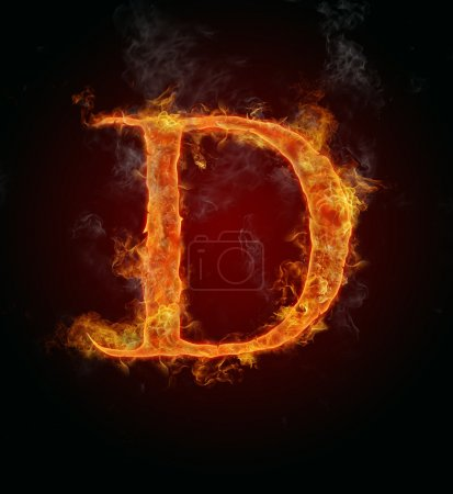 Flaming font, letter D