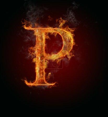 Flaming fuente, letra P