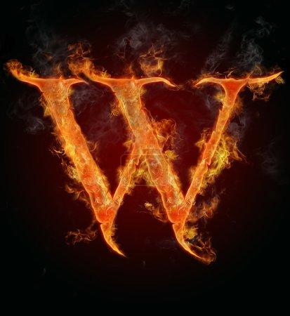Flaming font, letter W