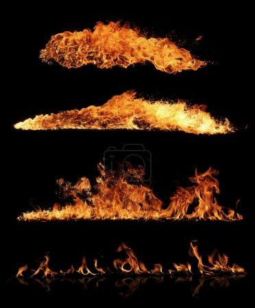 Foto de Colección de fuego de alta resolución, aislado sobre fondo negro - Imagen libre de derechos