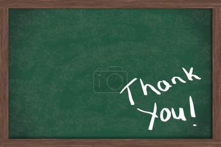 Thank you written on a blackboard with a lot of co...