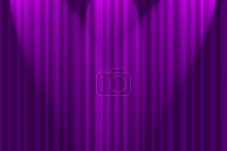 Photo pour Un fond texturé violet, rideau de scène avec projecteurs - image libre de droit