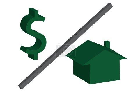 Foto de Un símbolo de dólar verde sobre una casa sobre un fondo blanco, los costos de la vivienda - Imagen libre de derechos