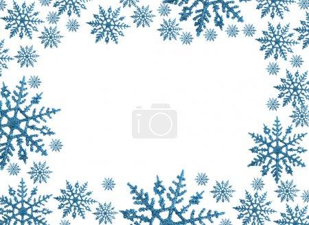 Foto de Frontera de copo de nieve con fondo blanco, invierno - Imagen libre de derechos