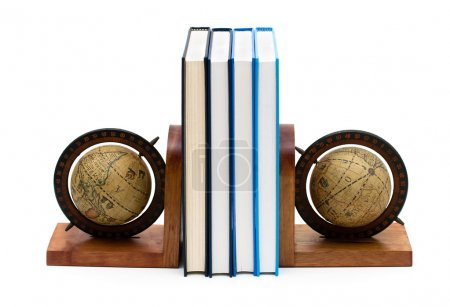 A stack of book between bookends isolated on white...