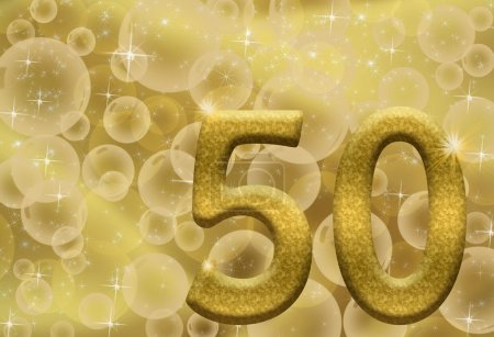 The number fifty 50 in gold with golden bubble bac...