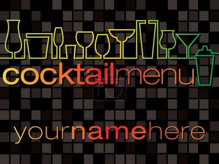Illustration pour Cartes de menu Cocktail au format vectoriel - image libre de droit