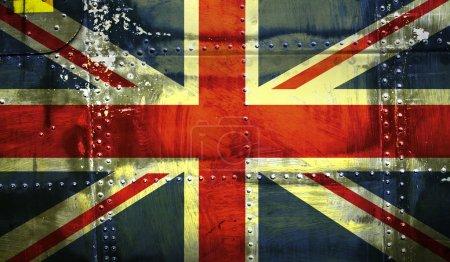 Union Jack Flag on steel background