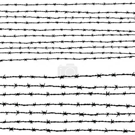 Barbed wire horizontally...