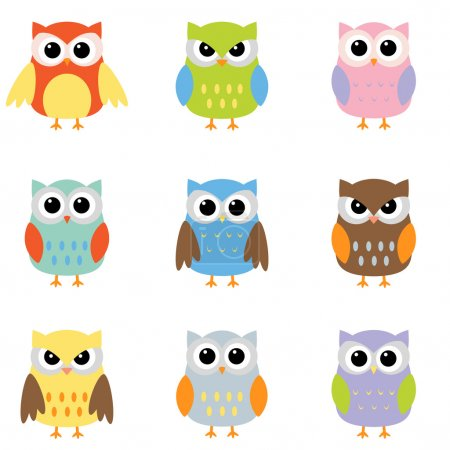 Illustration for Owls with nine color combinations - Royalty Free Image