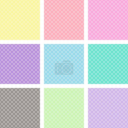 Illustration for White polka dots on different pastel backgrounds. It is repeated patterns that fill any shape seamlessly. - Royalty Free Image