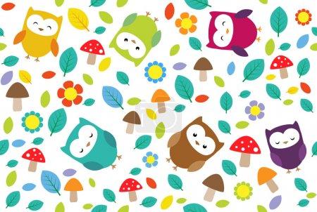Owls leafs background