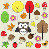 Set of autumnal bright stickers