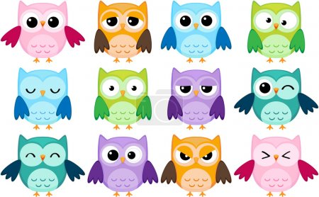 Photo for Set of 12 cartoon owls with various emotions - Royalty Free Image