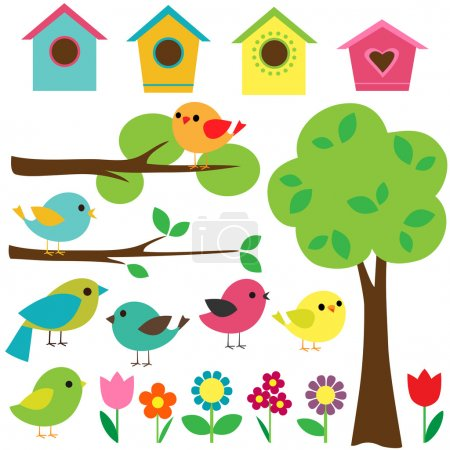 Photo for Set birds with birdhouses, trees and flowers. - Royalty Free Image