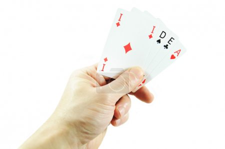 Photo for Winning idea concept with hand holding playing cards - Royalty Free Image