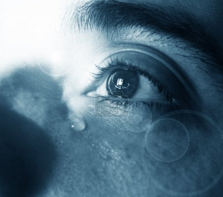 Sad eye and tears (monochromatic)...