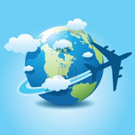Illustration for Vector illustration of airplane travel on globe. - Royalty Free Image