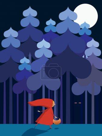Illustration pour Illustration vectorielle Petit Chaperon Rouge . - image libre de droit