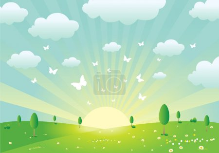 Illustration for Vector illustration of an idyllic spring landscape with butterflies, flowers, clouds and rising sun. Basic gradients used. Optimized for CMYK print. - Royalty Free Image