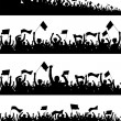 Easy editable vector crowd silhouettes with each p...