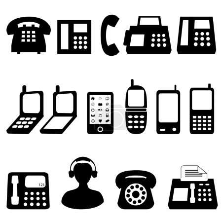 Photo for Various types of telephones in black - Royalty Free Image