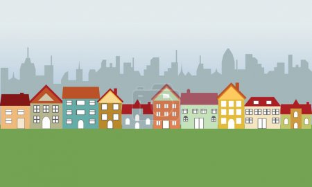 Illustration for Suburban houses in neighborhood and big city - Royalty Free Image