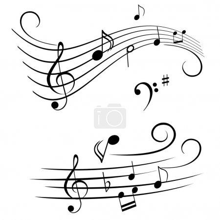 Illustration pour Diverses notes musicales sur portée - image libre de droit