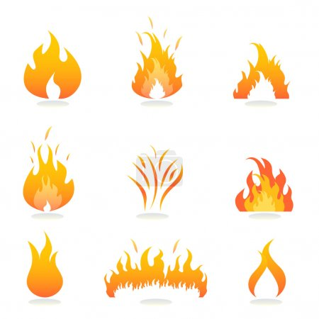 Illustration for Flames and fire signs and symbols - Royalty Free Image
