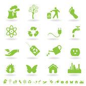 Green eco icon set